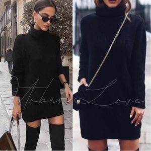 Black Knit Turtle Neck Sweater Dress with Pockets